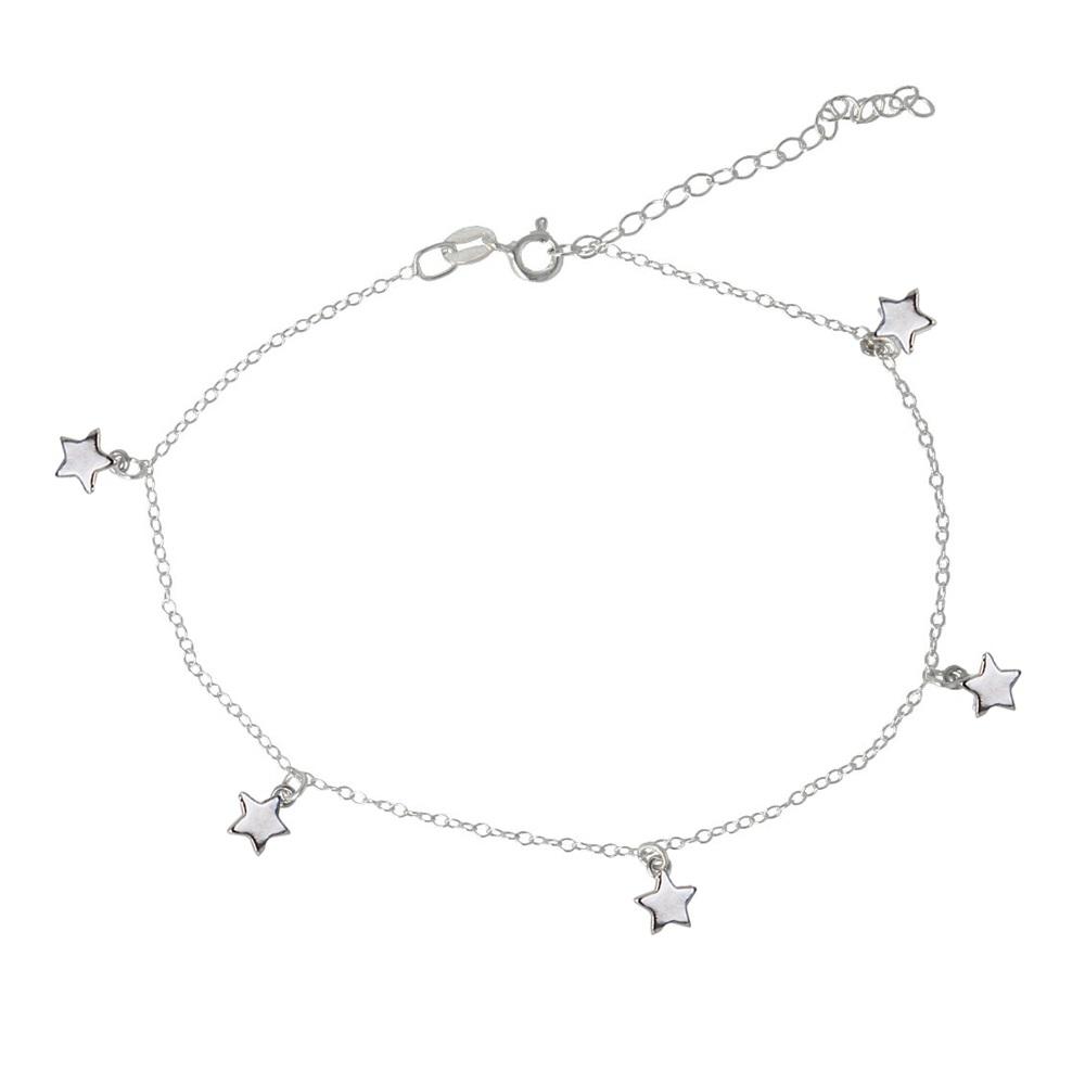 Tobillera estrellas en plata de primera ley