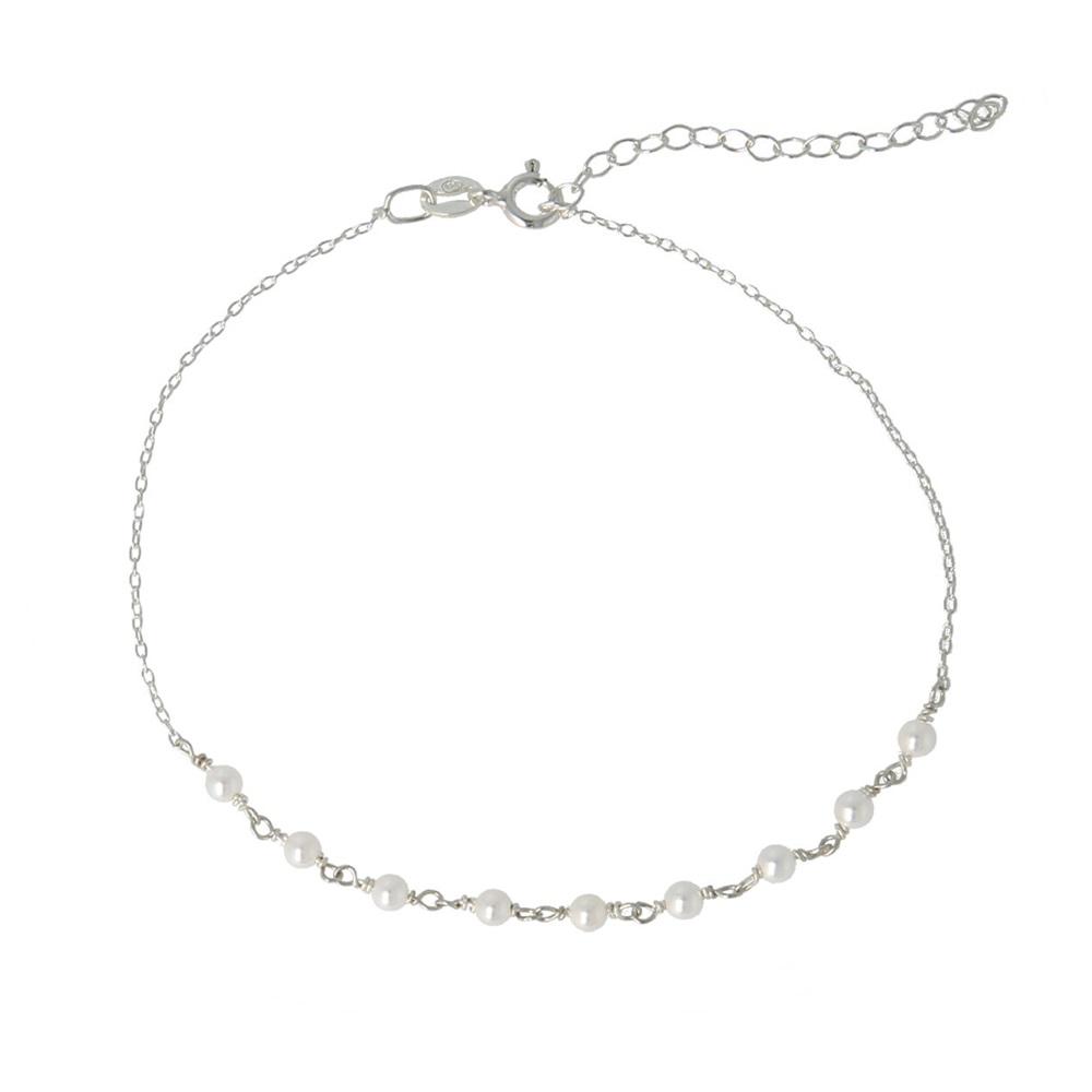 Tobillera rosario con piedra semipreciosa en plata Perla