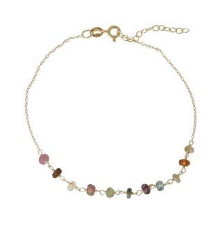 Tobillera rosario con piedra semipreciosa plata bañada en oro Turmalina multicolor