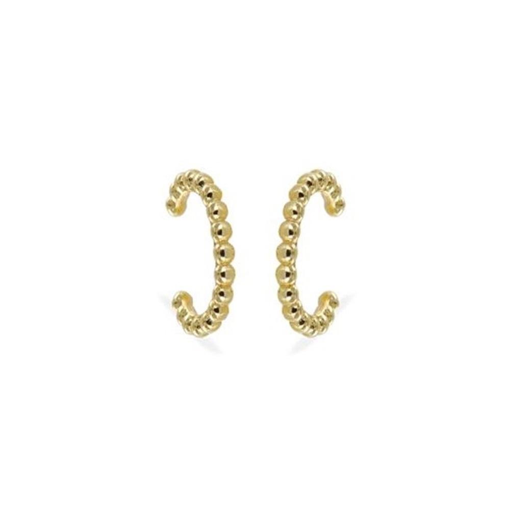 Pendientes ear cuff bolitas plata bañada en oro