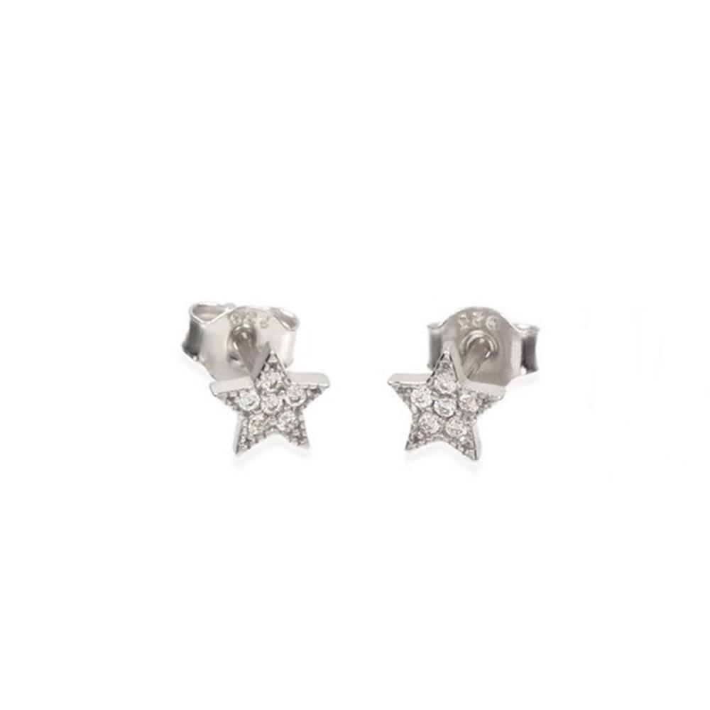 Pendientes estrella con zirconitas en plata