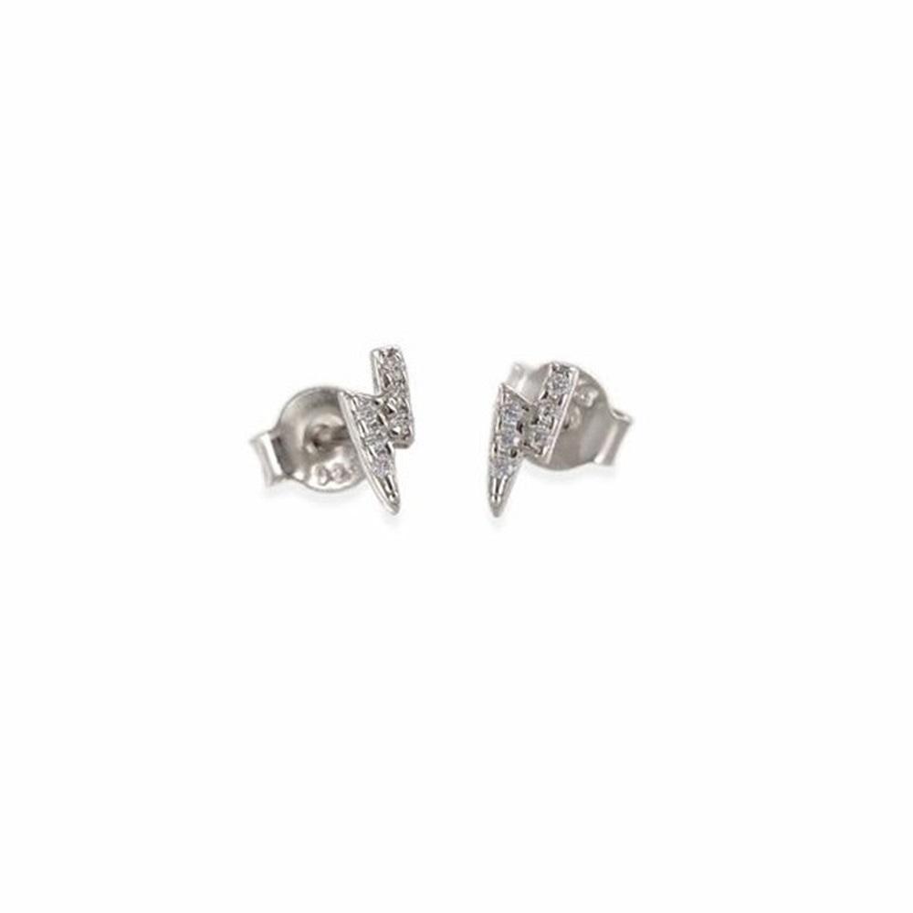 Pendientes rayo con zirconitas en plata