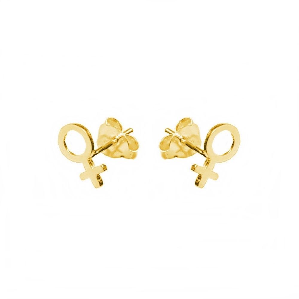 Pendientes símbolo mujer mini plata bañada en oro