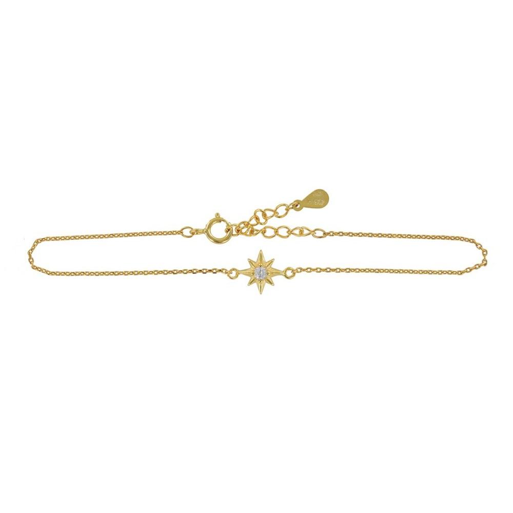 Pulsera estrella polar con zirconita plata bañada en oro