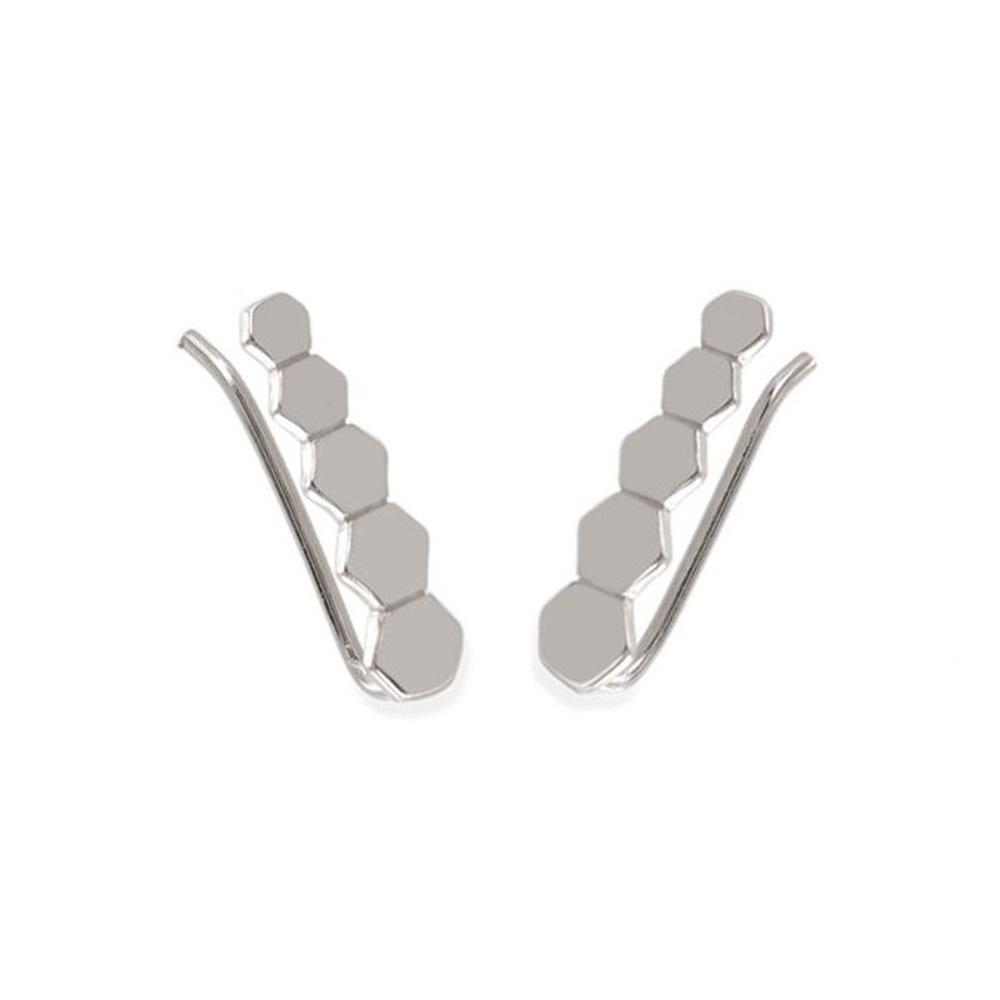 Pendientes trepadores hexágonos en plata