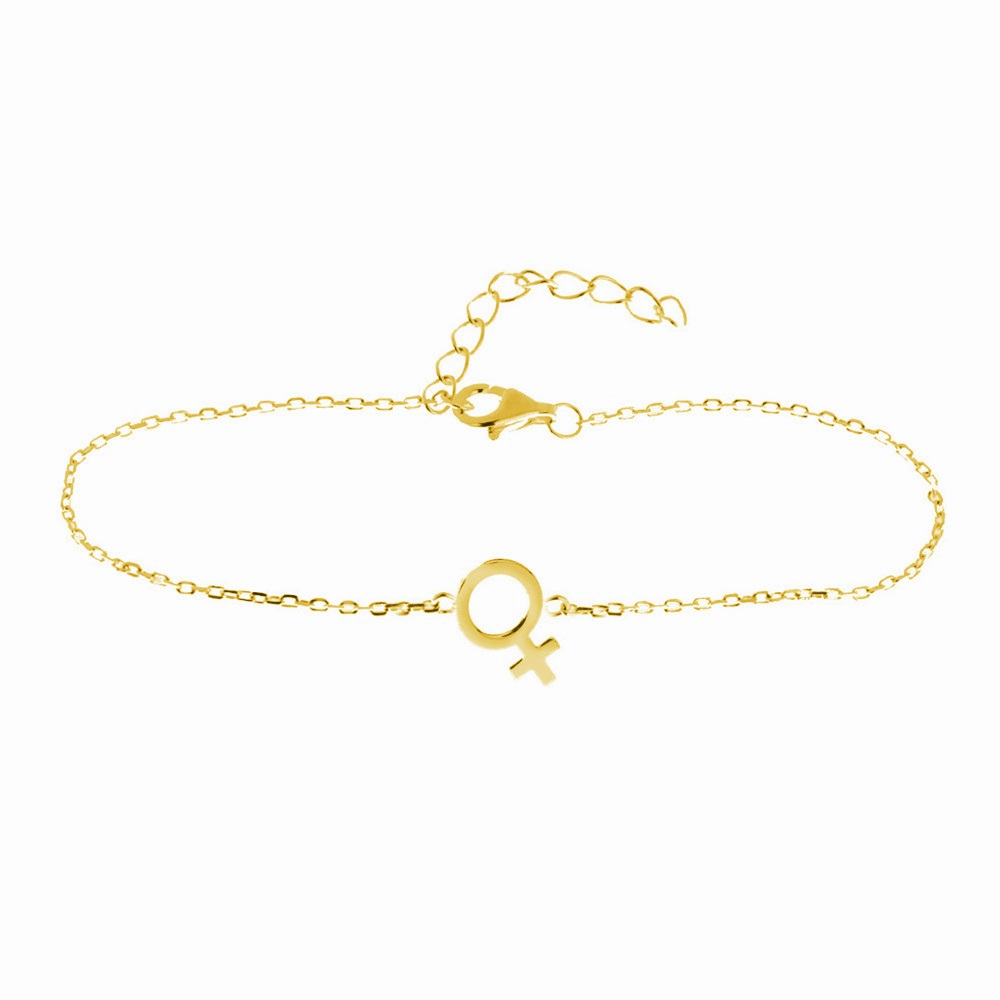 Pulsera símbolo mujer plata bañada en oro
