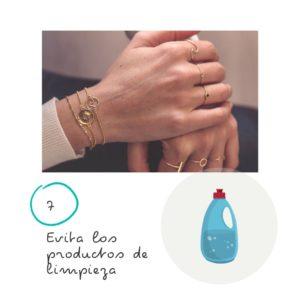 9 Consejos para el cuidado de tus joyas 7 Evita los productos de limpieza