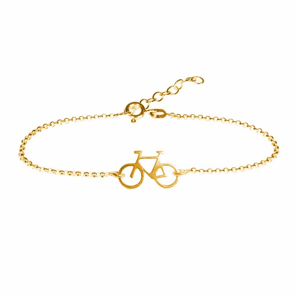 Pulsera bicicleta plata bañada en oro