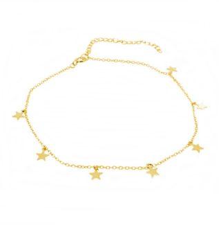 Tobillera estrellas plata bañada en oro