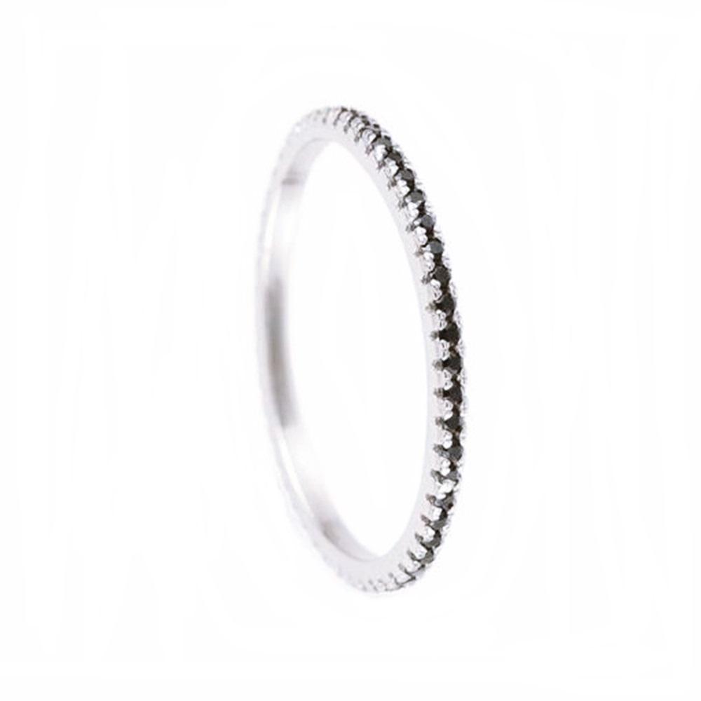 Anillo pavé zirconita mini negra en plata
