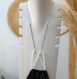 Colgador mascarilla gafas rosario espinela en plata