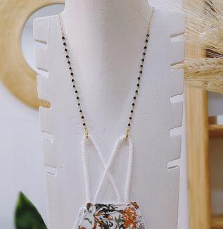 Colgador mascarilla gafas rosario espinela plata bañada en oro