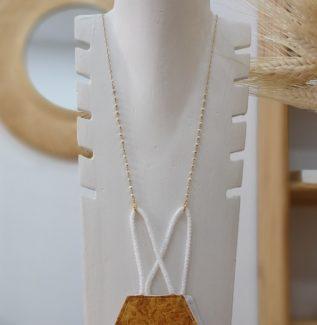 Colgador mascarilla gafas rosario perla plata bañada en oro