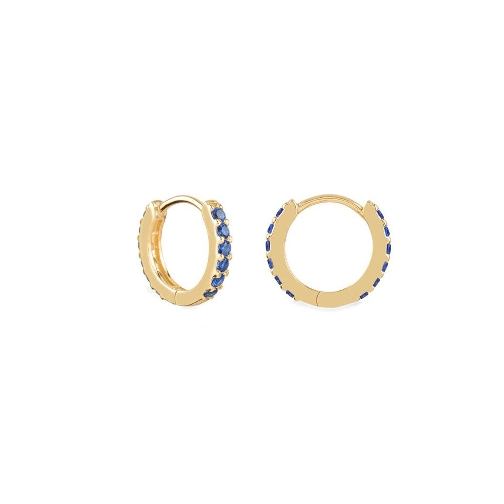 Pendientes aro pavé zirconitas azul 12mm plata bañada en oro