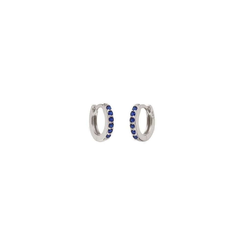 Pendientes aro pavé zirconitas azul 9mm en plata