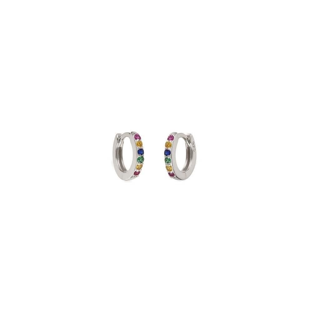 Pendientes aro pavé zirconitas multicolor 9mm en plata