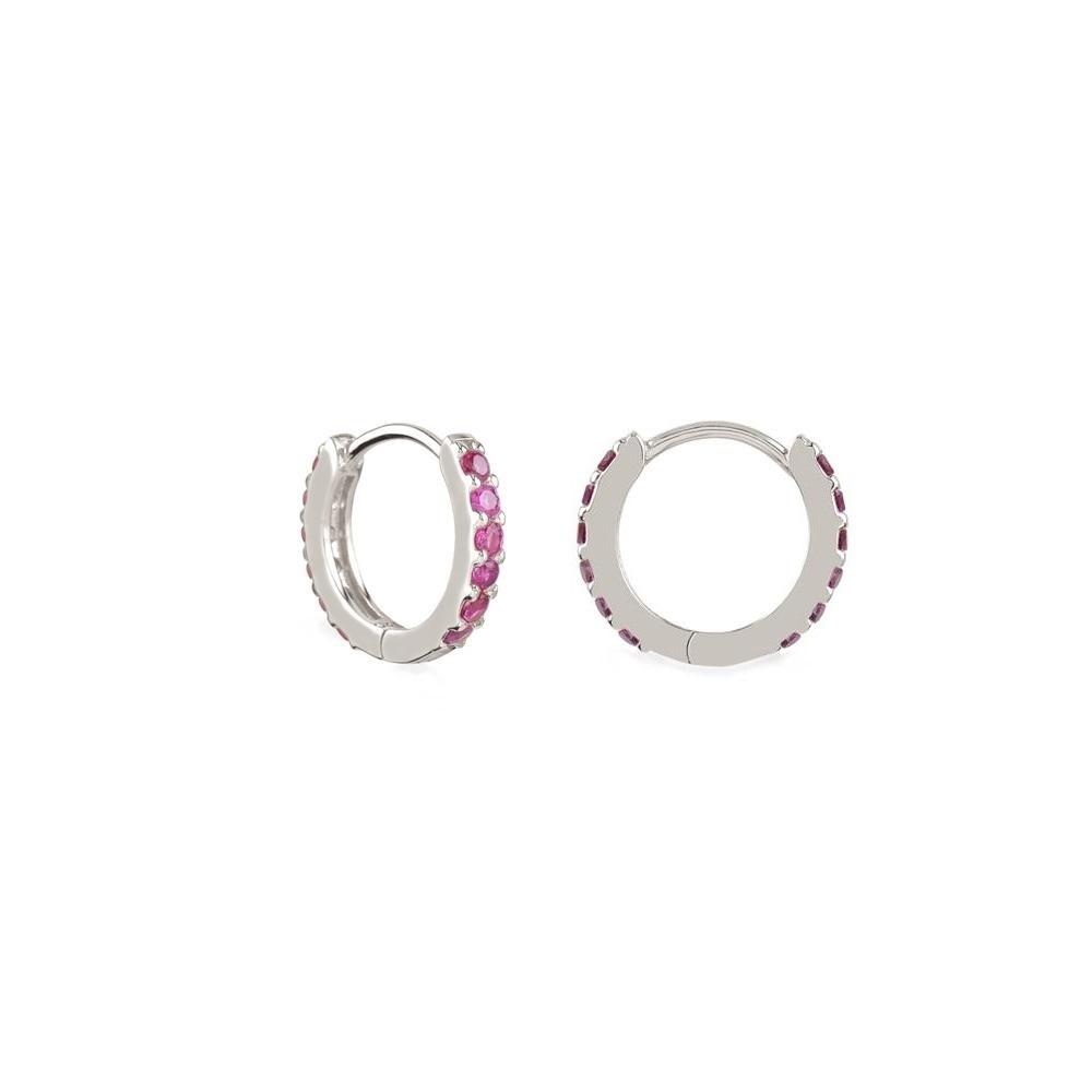 Pendientes aro pavé zirconitas rosa 12mm en plata
