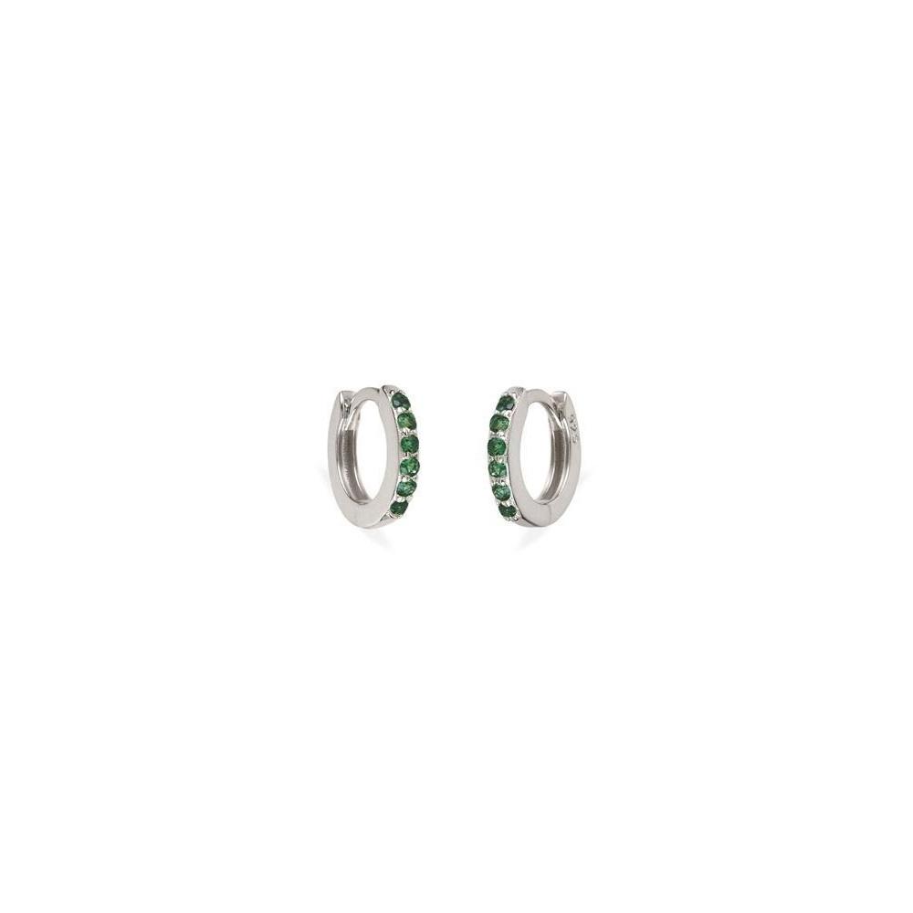 Pendientes aro pavé zirconitas verde 9mm en plata