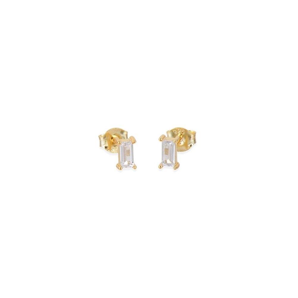 Pendientes baguette zirconita blanca plata bañada en oro