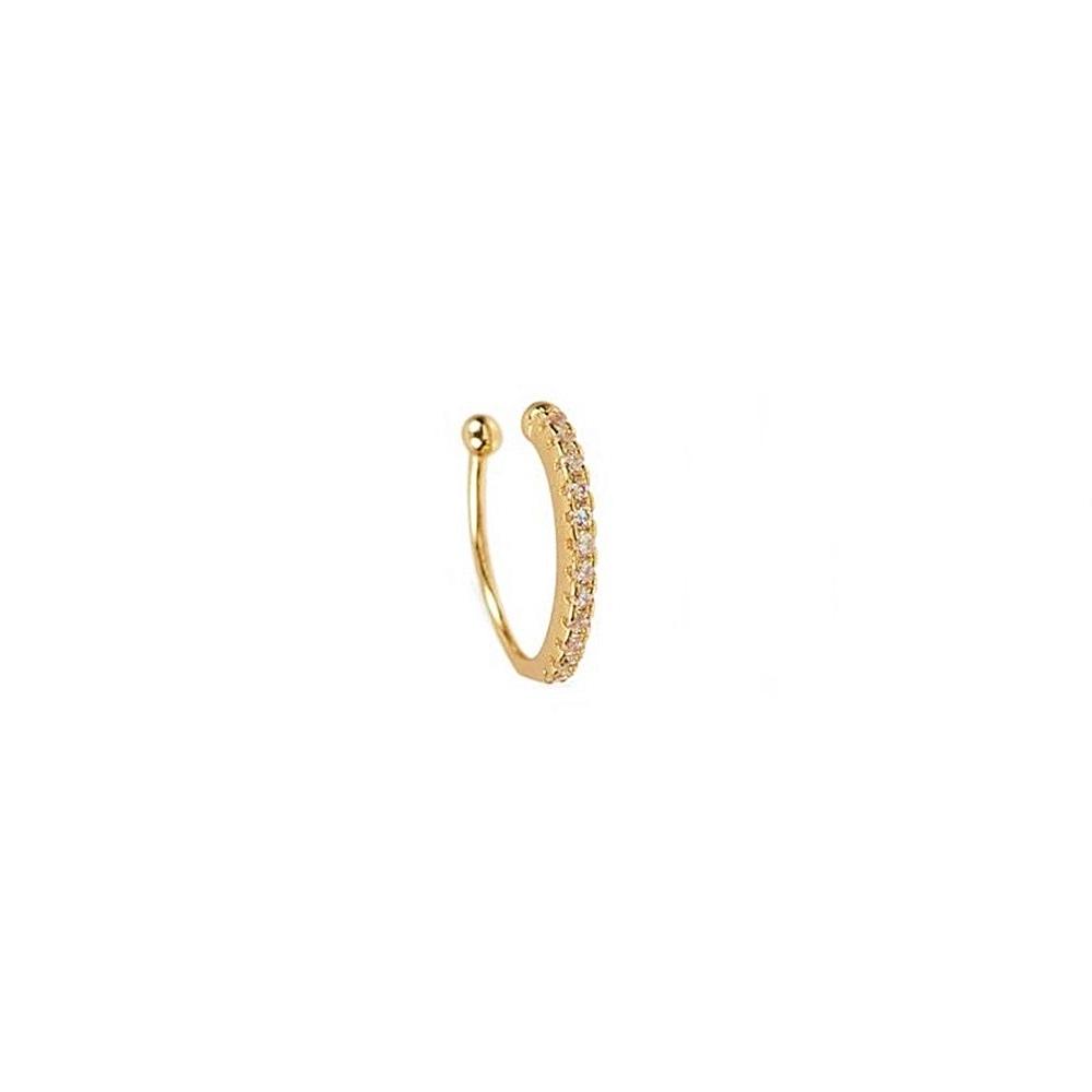Pendientes ear cuff pavé zirconitas blancas plata bañada en oro Unidad