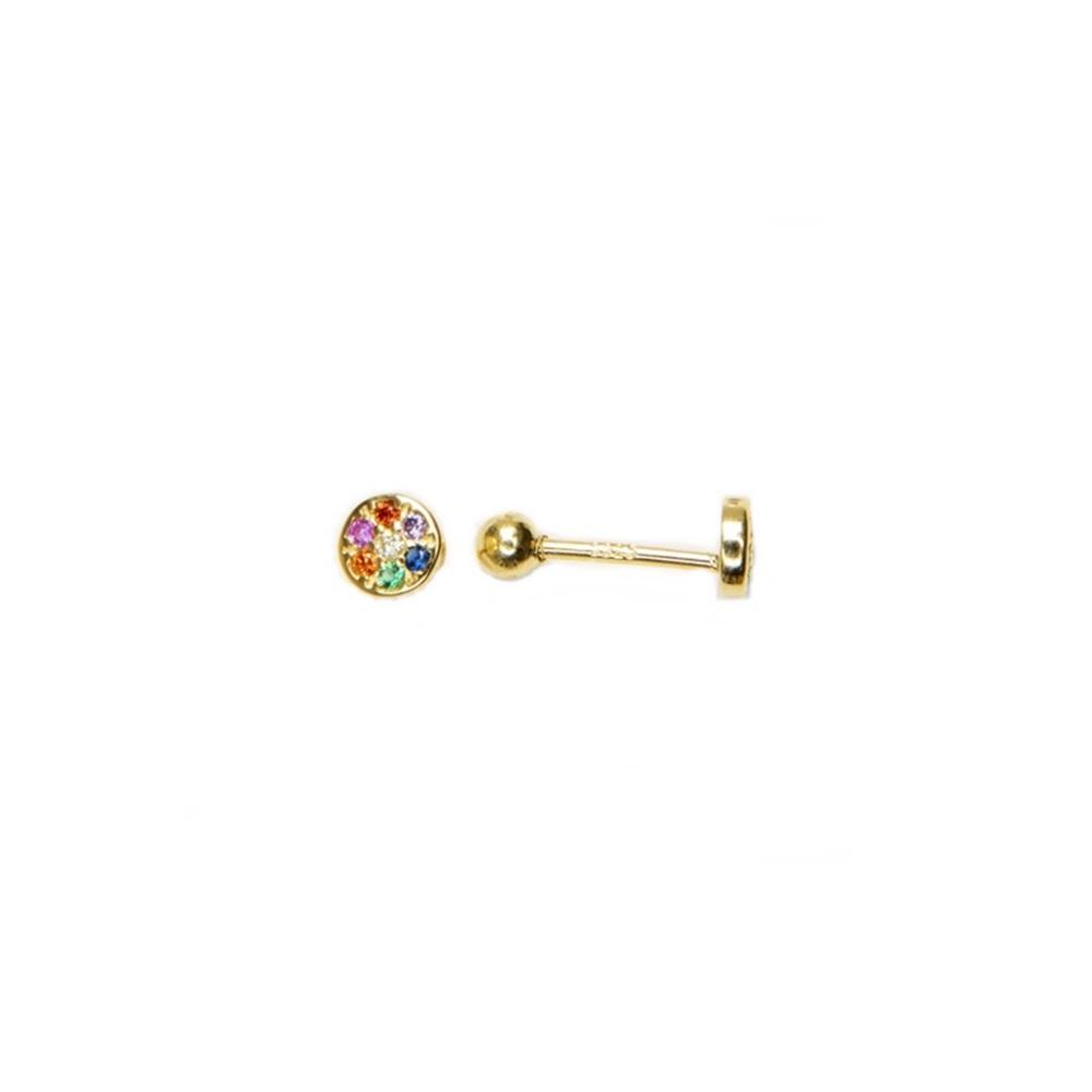 Pendientes piercing círculo zirconitas multicolor plata bañada en oro