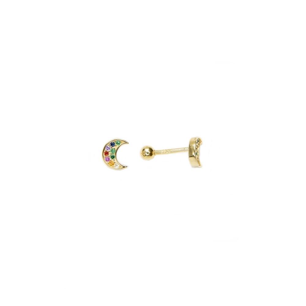 Pendientes piercing luna zirconitas multicolor plata bañada en oro