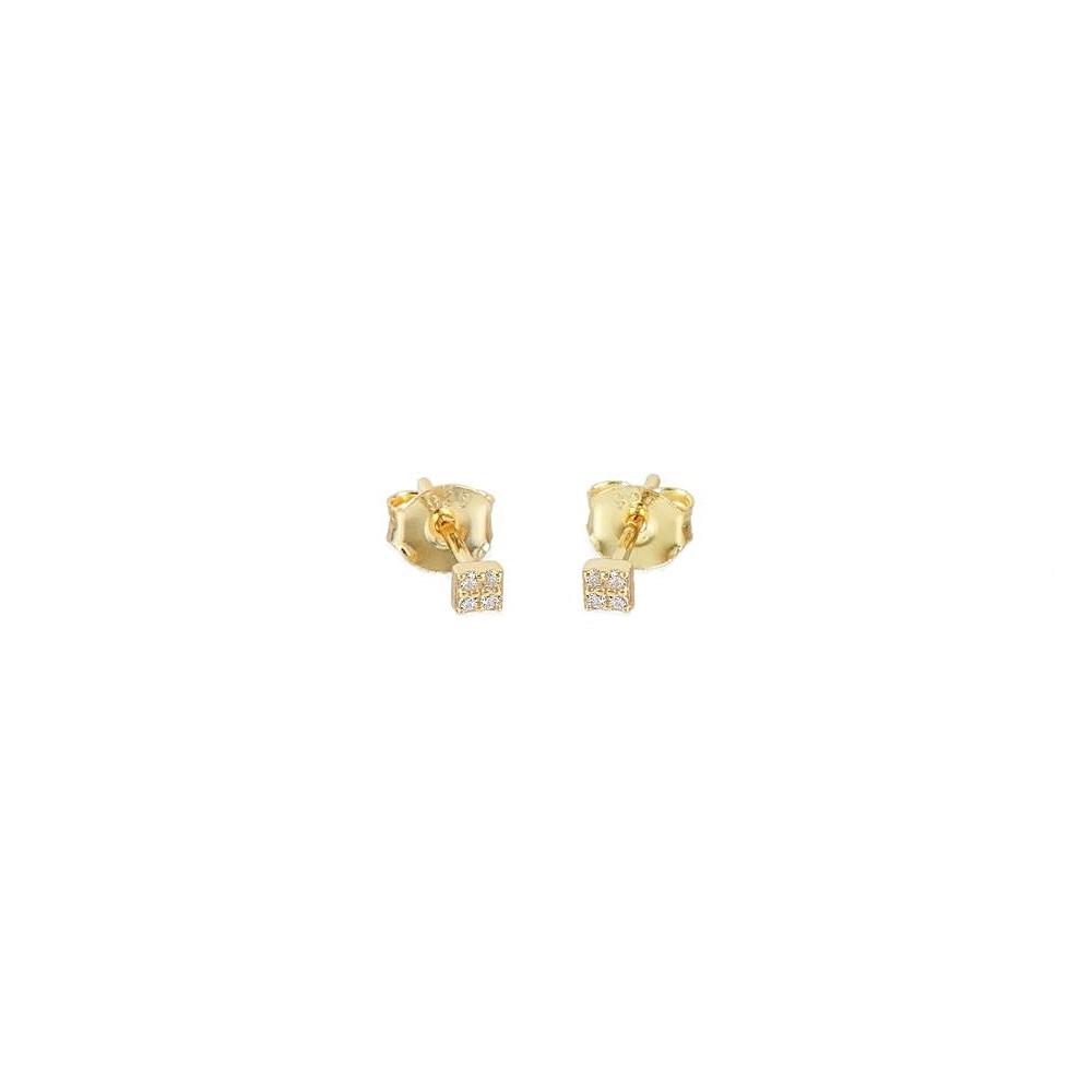 Pendientes cuadrado pavé zirconitas blancas plata bañada en oro