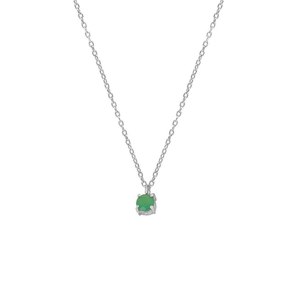 Collar ónix verde 4mm en plata