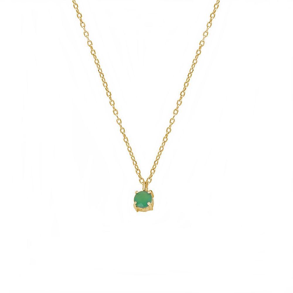 Collar ónix verde 4mm plata bañada en oro