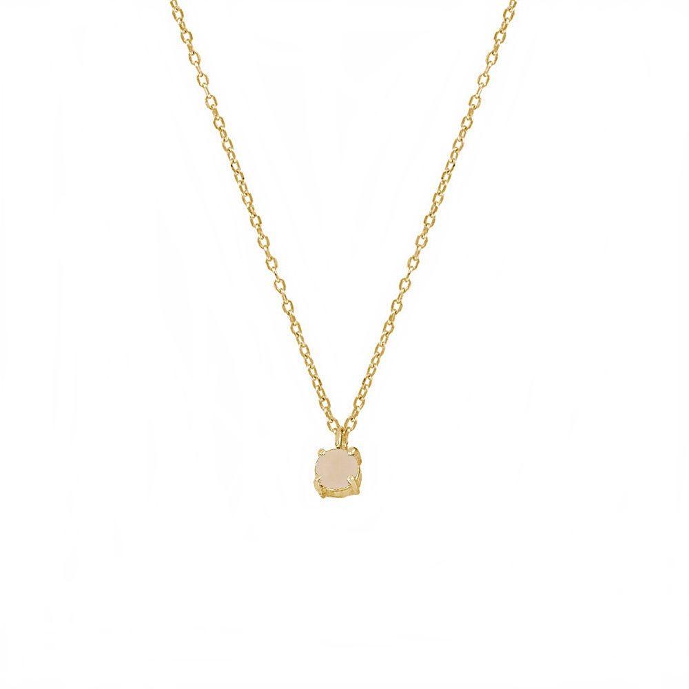 Collar calcedonia rosa 4mm plata bañada en oro