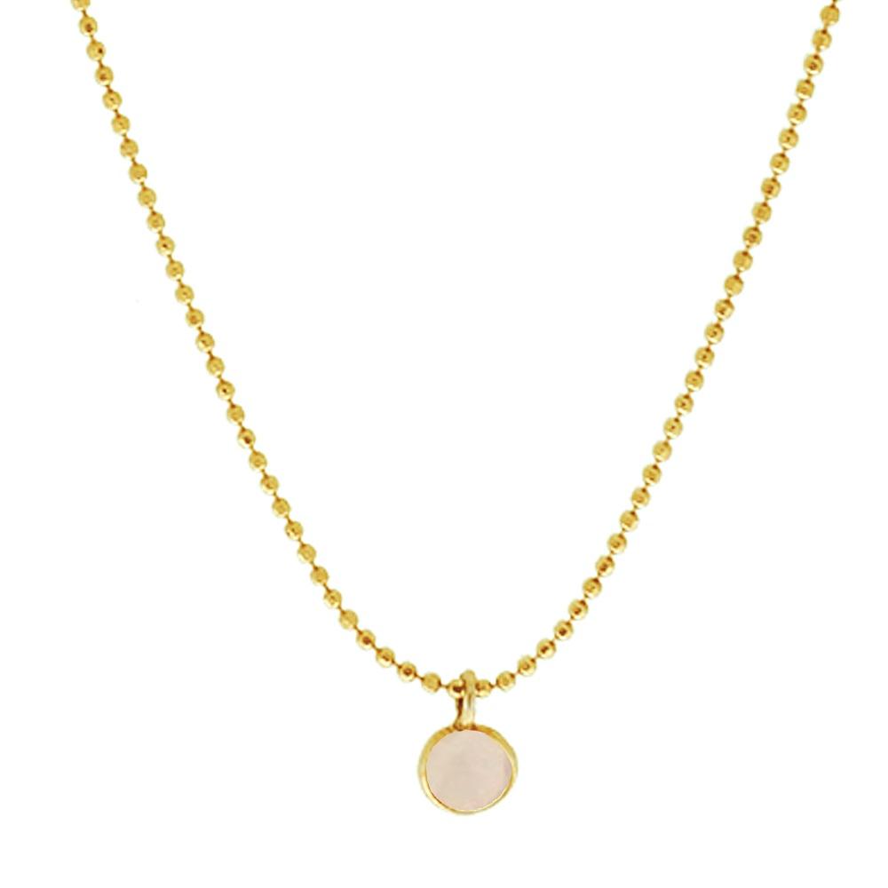 Collar calcedonia rosa 6mm plata bañada en oro