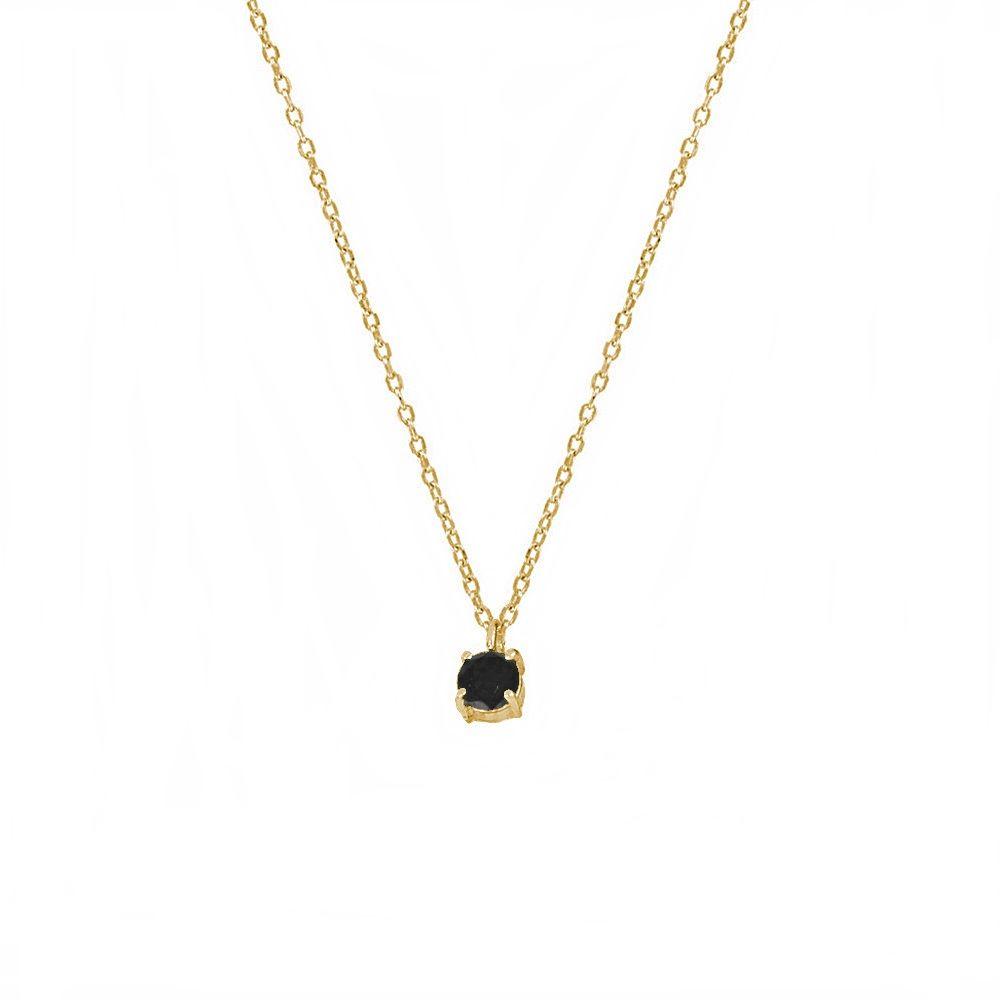Collar espinela negra 4mm plata bañada en oro