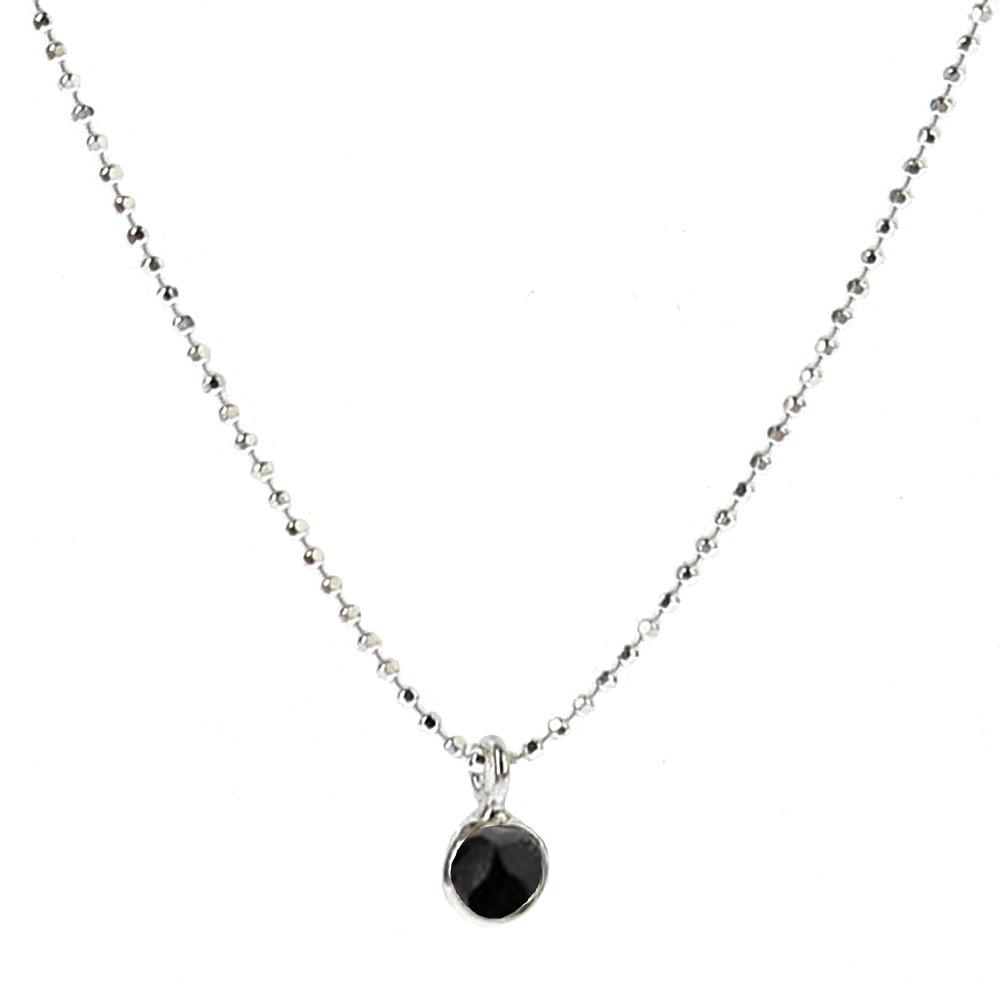 Collar espinela negra 6mm en plata