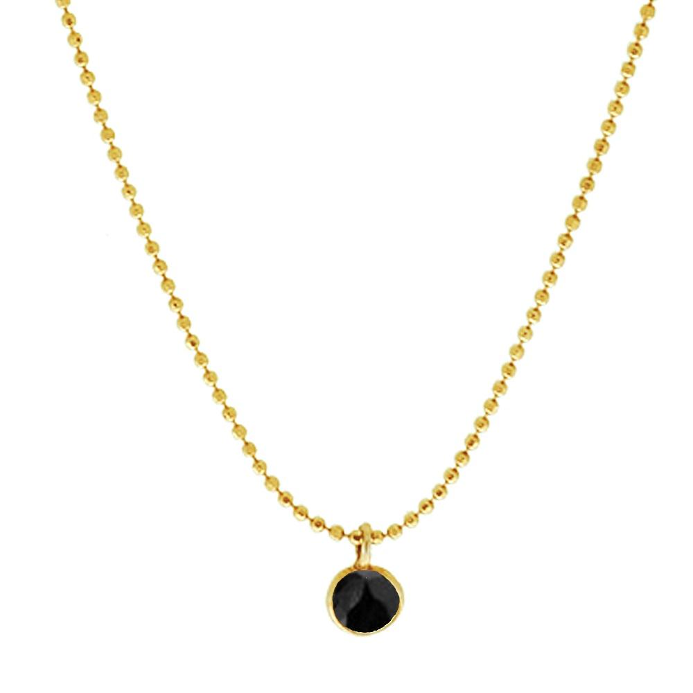 Collar espinela negra 6mm plata bañada en oro