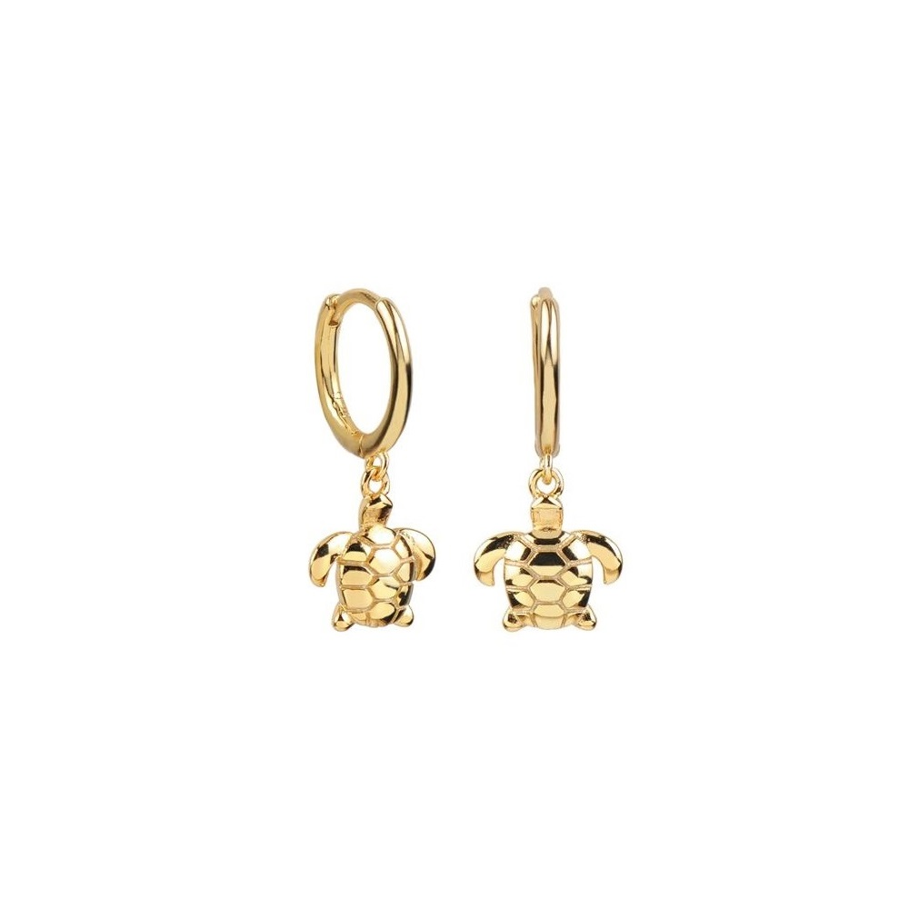 Pendientes aro con tortuga plata bañada en oro