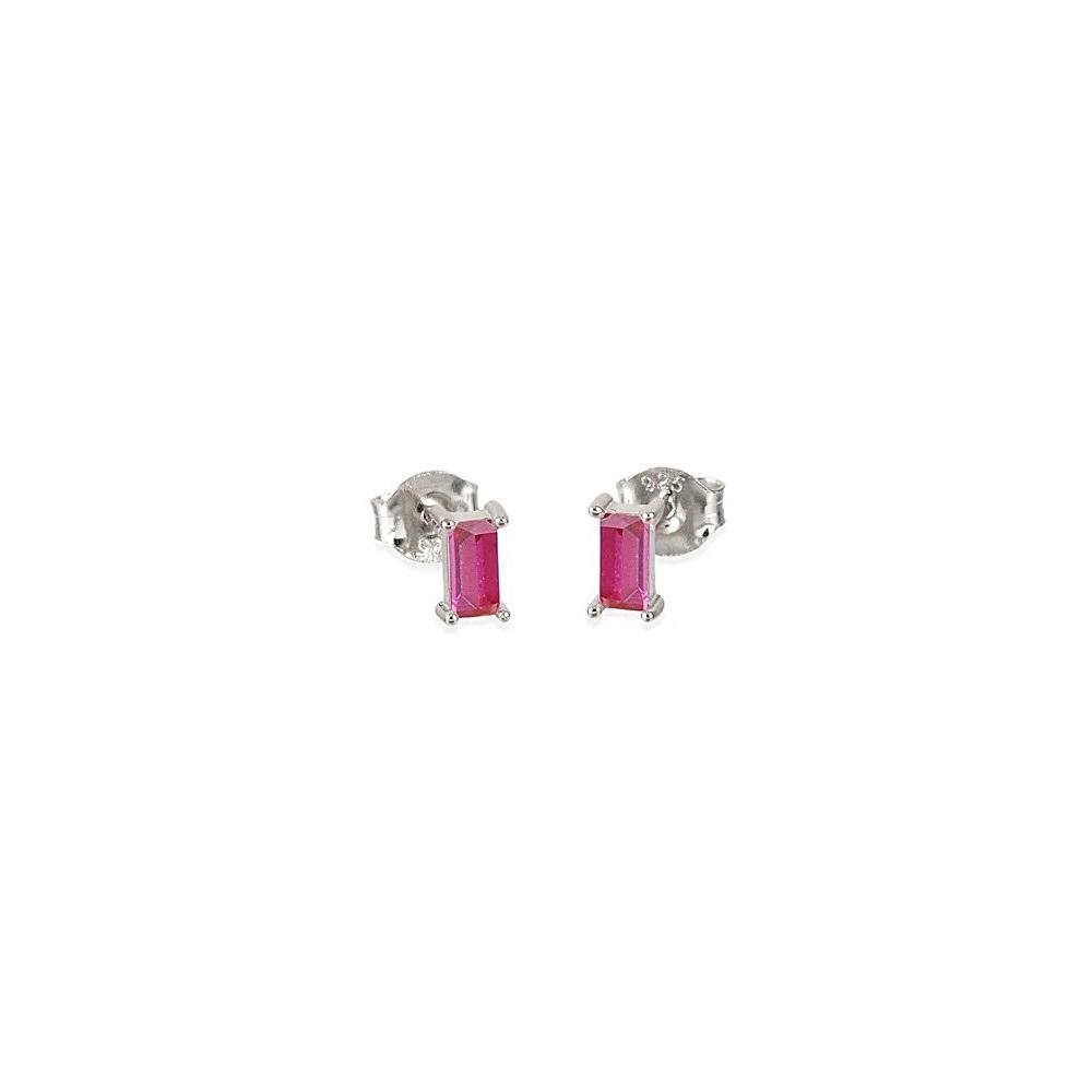 Pendientes baguette zirconita rosa en plata