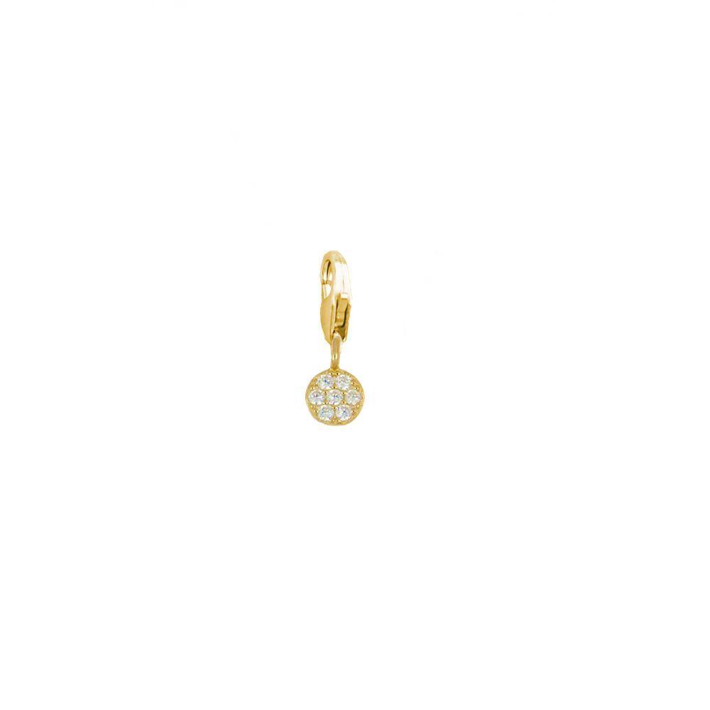 Charm círculo zirconitas blancas plata bañada en oro