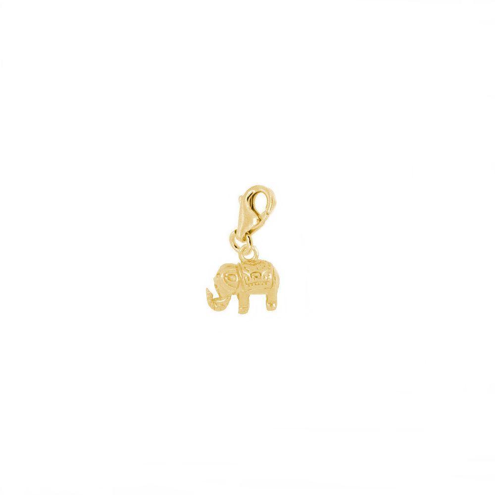 Charm elefante plata bañada en oro