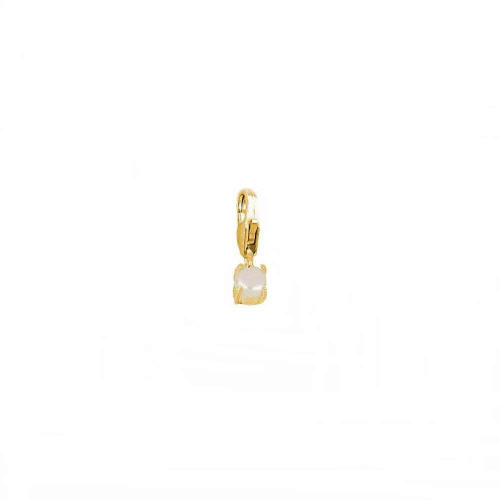 Charm perla 4mm plata bañada en oro