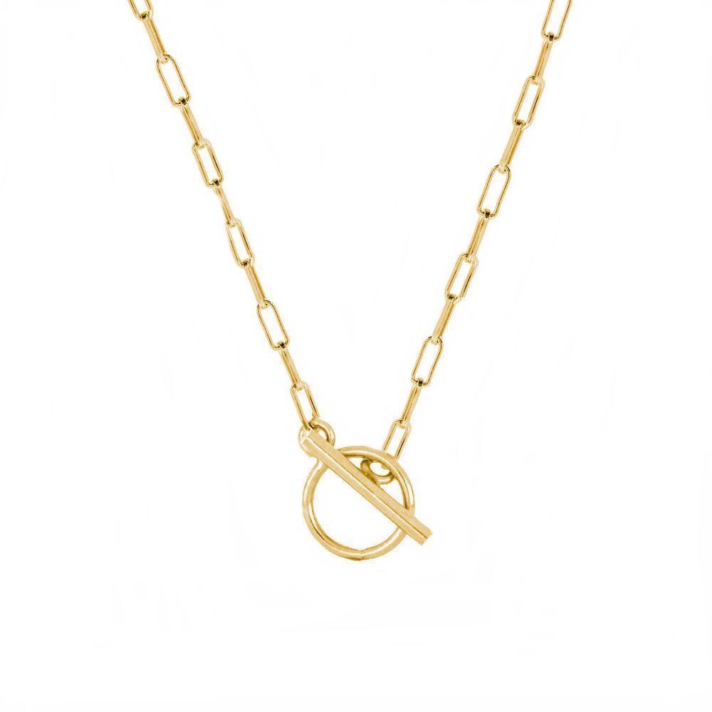Collar cadena rectangular con cierre T plata bañada en oro