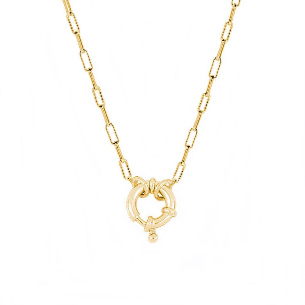 Collar cadena rectangular con reasa marinera plata bañada en oro