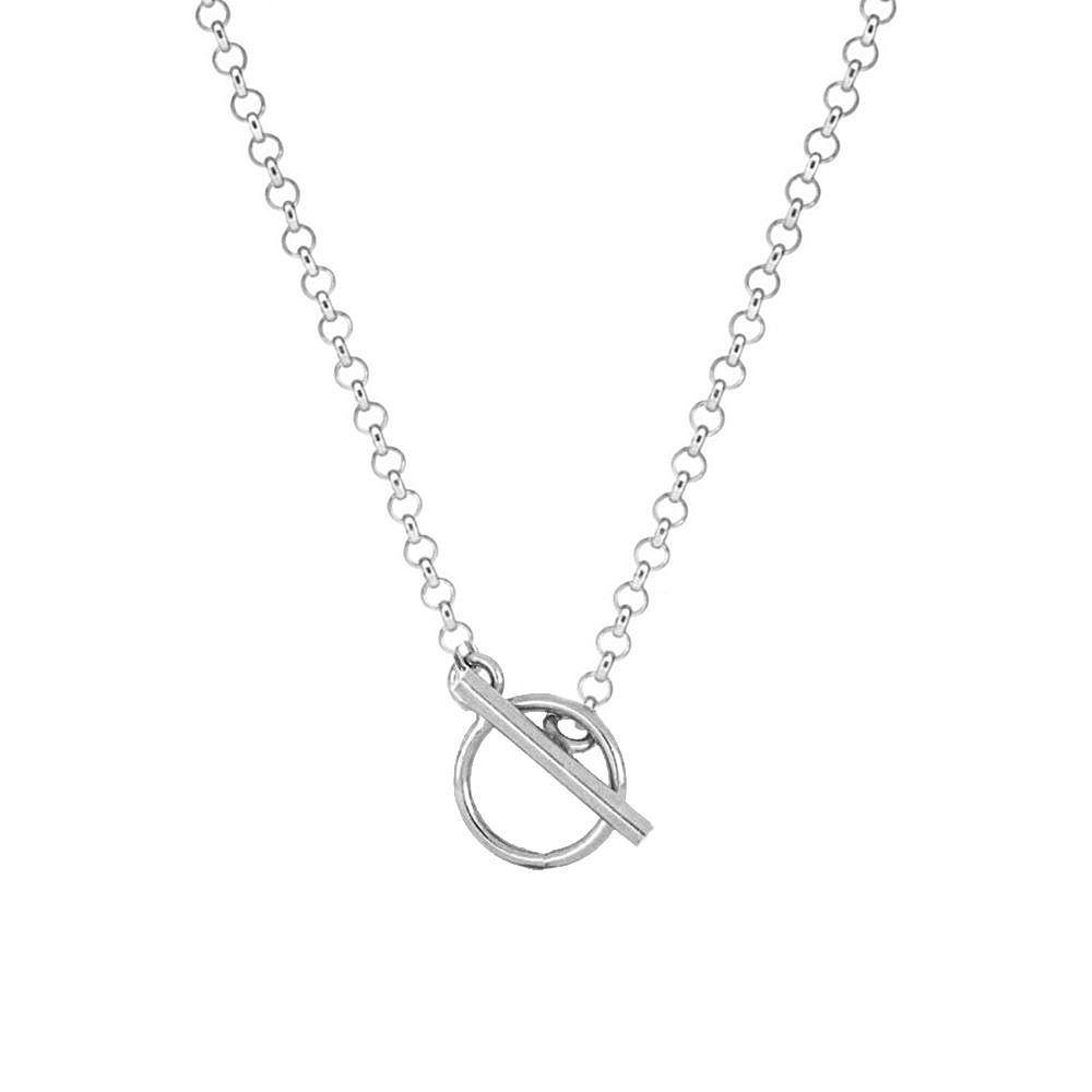 Collar cadena rolo con cierre T en plata