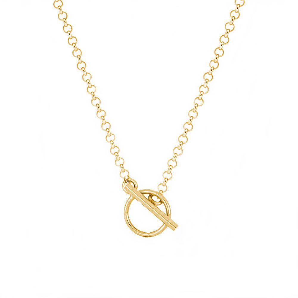 Collar cadena rolo con cierre T plata bañada en oro