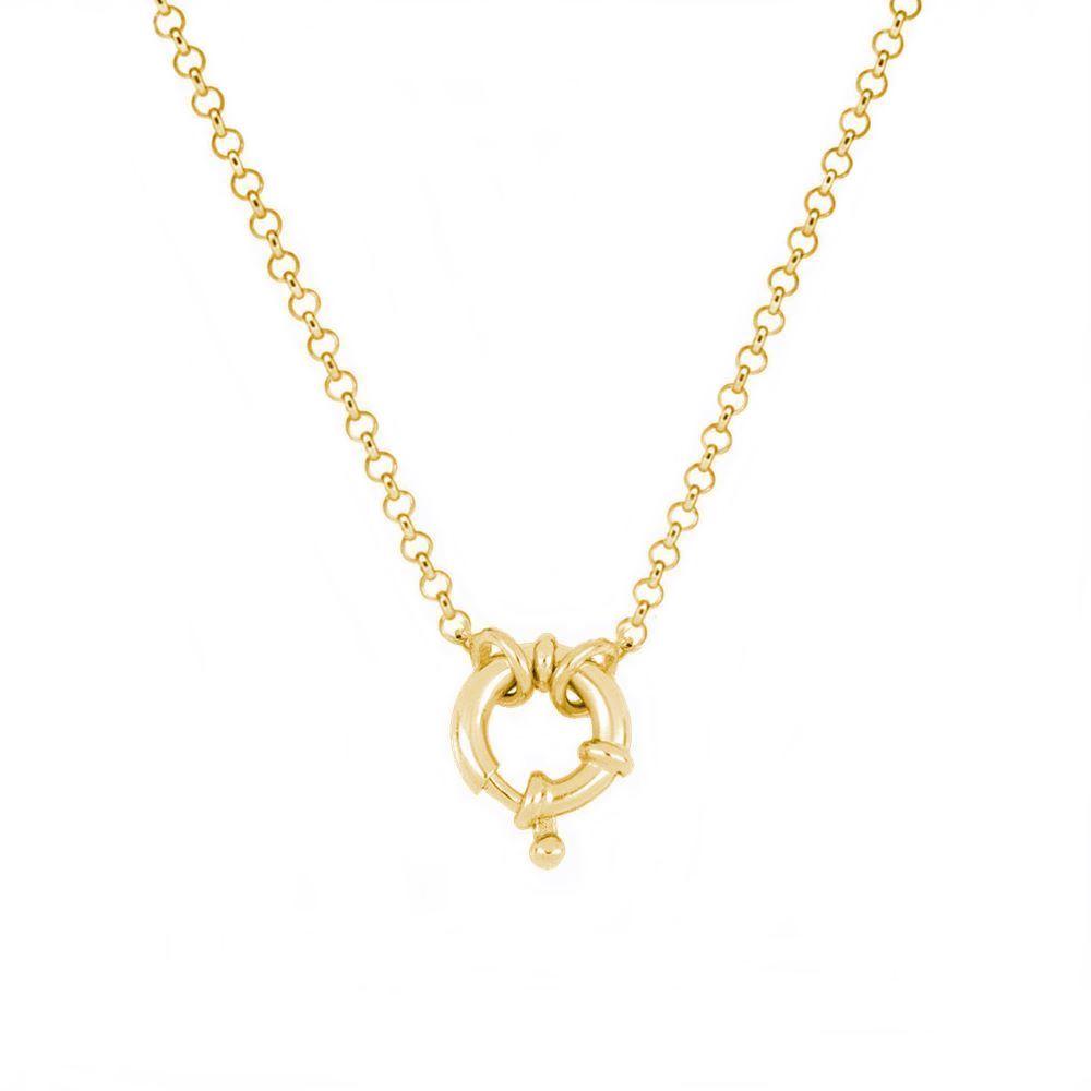 Collar cadena rolo con reasa marinera plata bañada en oro