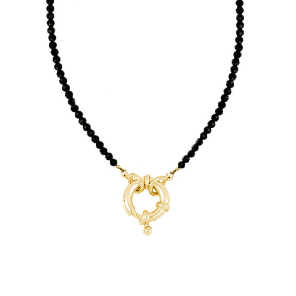 Collar espinela con reasa marinera plata bañada en oro