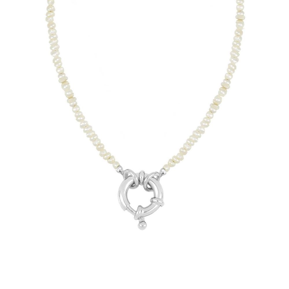 Collar perla con reasa marinera en plata