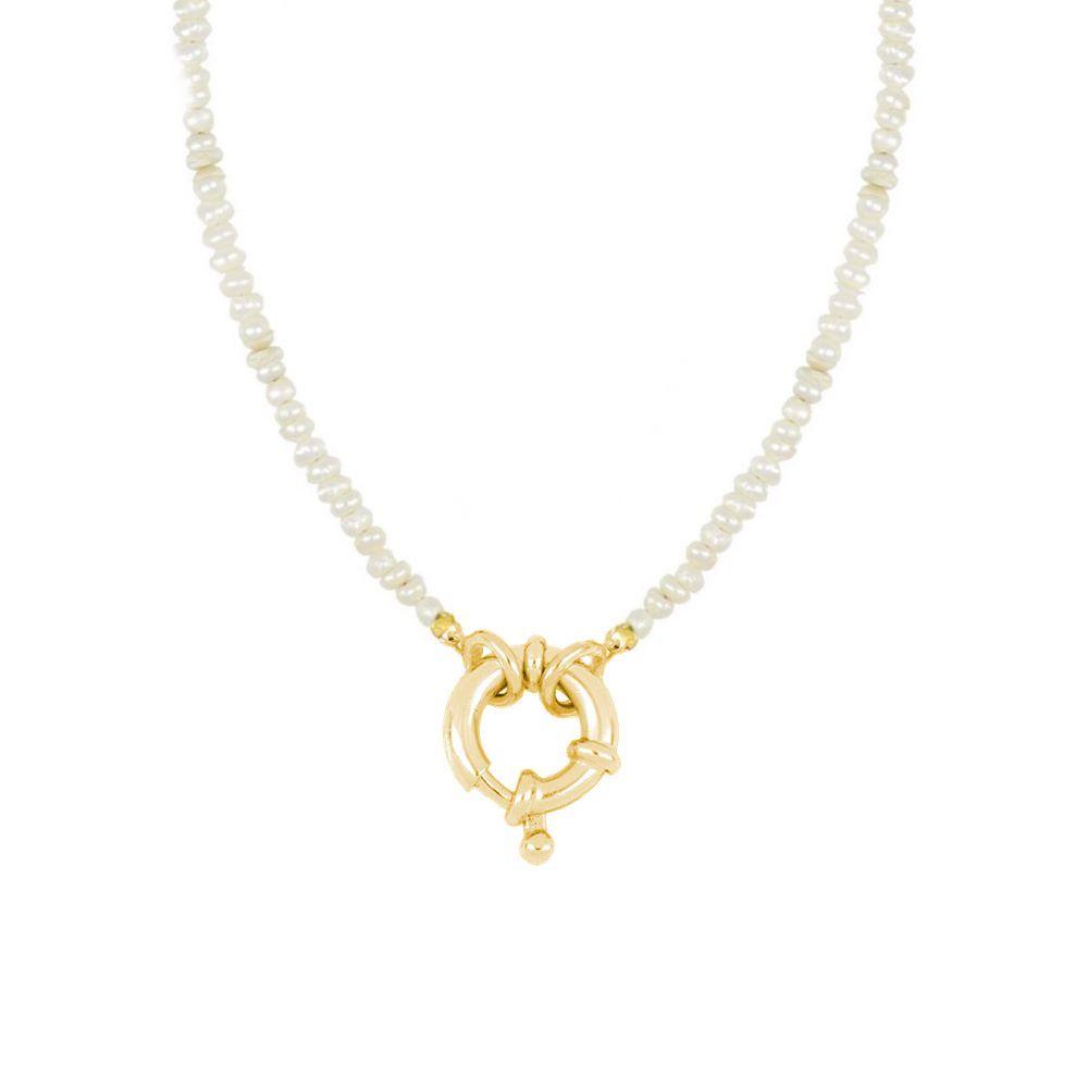 Collar perla con reasa marinera plata bañada en oro