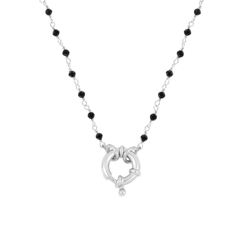 Collar rosario espinela con reasa marinera en plata