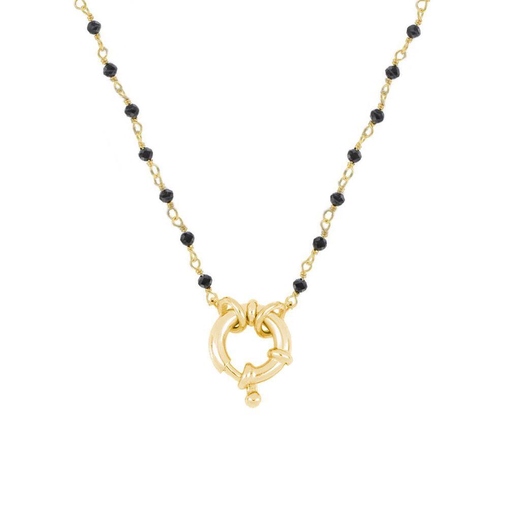 Collar rosario espinela con reasa marinera plata bañada en oro