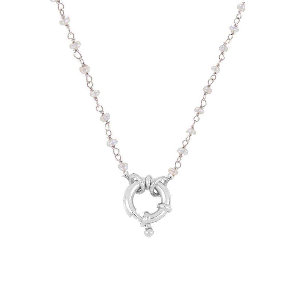 Collar rosario perla con reasa marinera en plata